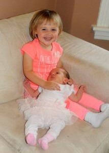 Two-year-old Michaela Brunke with baby sister Angelina Brunke