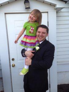 Pastor Mark Brunke with four-year-old daughter Michaela Brunke