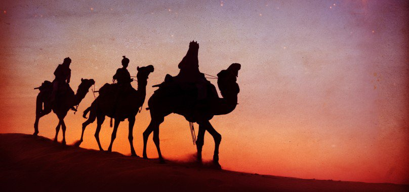Three Kings Day Magi riding on camels