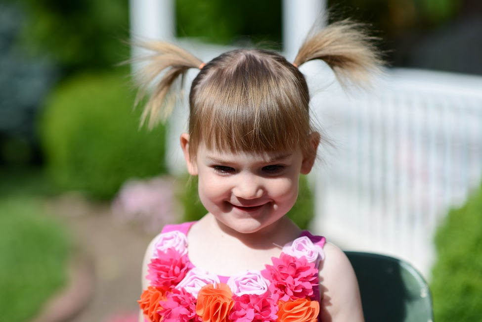 Two-year-old girl with pigtails, in summerAngelina Brunke