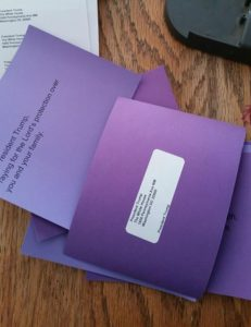 Purple Postcards for Our President, Donald Trump