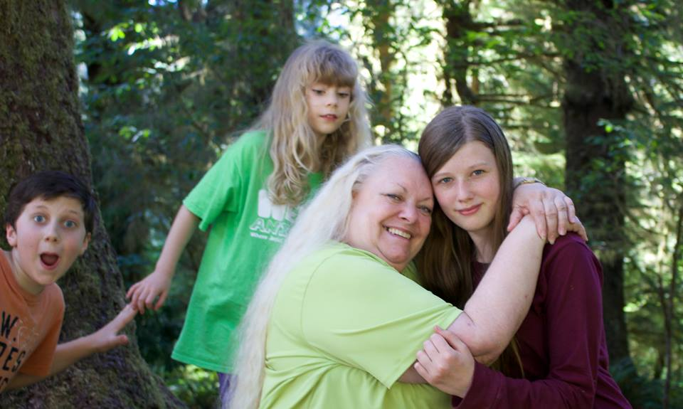 Connie Gibson with her grandchildren in the States