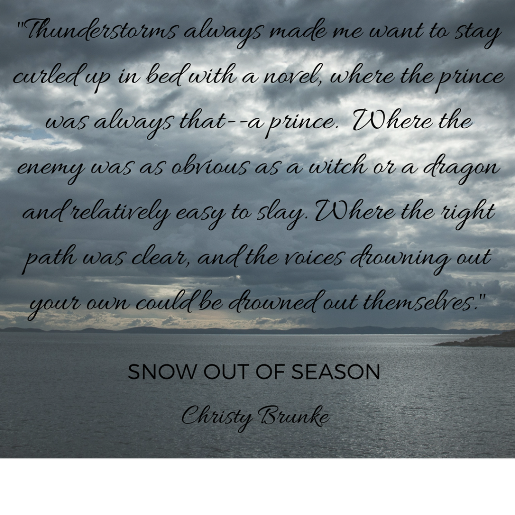 Thunderstorm quote from Snow Out of Season novel