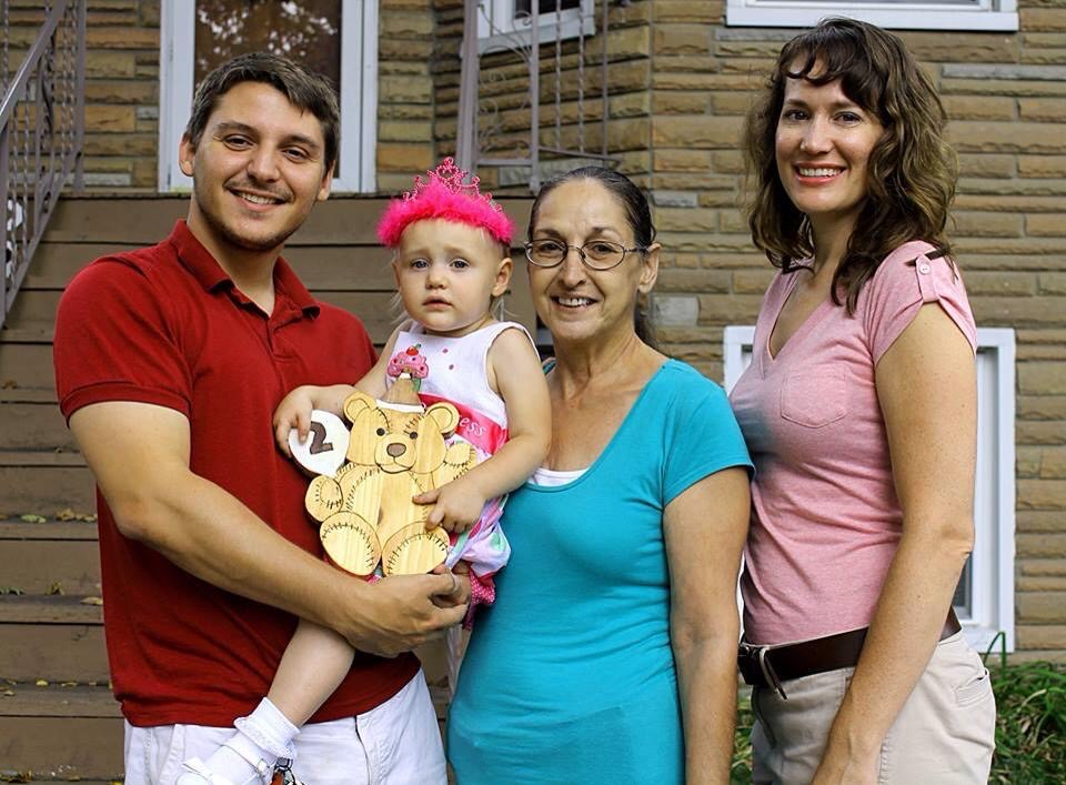 Christy Brunke with her husband, daughter, and mother-in-law